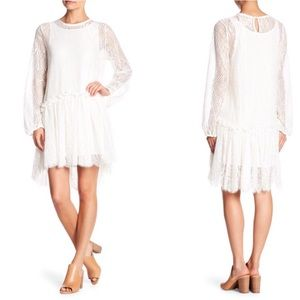 Johnny Was Love White Lace Long Sleeve Hi-lo Dress